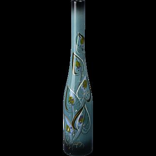 Sascha Brastoff Vase, 1950's Teal Leaf Gold Bottle Vase #083