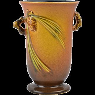 Roseville Pottery Vase, 1931 Brown Pinecone Handled Vase #838-6