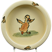 Weller Pottery 1920's Zona Juvenile Dancing Duck Rolled Rim Bowl