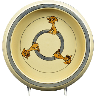 Roseville Pottery 1916 Juvenile Puppy Baby Rimmed Plate Bowl (RV)