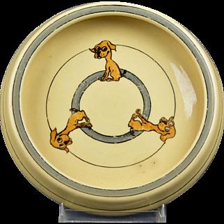 Roseville Pottery 1916 Juvenile Puppy Baby Rimmed Plate Bowl (light RV)