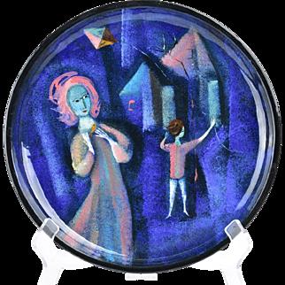 Pillin Pottery Plate, Child Flying Kite Blue Plate