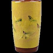 Pillin Pottery Yellow 10 Bird Cylinder Pencil Vase