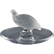 Lalique Crystal pre-1978 Perdrix Pheasant Pin Dish Tray