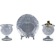 Lalique Crystal pre-1978 Tete DeLion Smoking Set Ashtray Lighter Holder