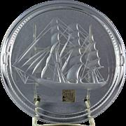 Lalique Crystal pre-1978 Clipper Sailing Ship Cigar Ashtray