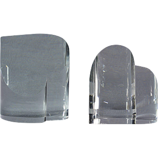 Steuben Crystal Heart Point Up Heart Point Down Paperweights