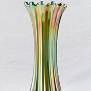 Westmoreland Ribbed Green Carnival Glass 9 1/4 inch Vase