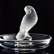 Lalique Clear and Frosted Crystal Pheasant Bird Tucked Head Pin Tray Dish