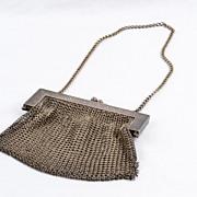 Vintage German Silver Rose Scroll Work Mesh Chain Mail Flapper Bag Purse