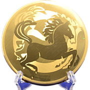 Large Gold-tone Pilcher Compact with Engraved Horse Motif
