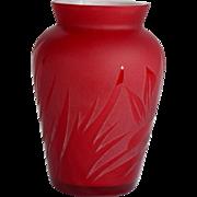 Pilgrim Red Cameo Art Deco Leaves Vase Signed by Kelsey Pilgrim USA