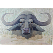 Howard Besnia:  Cape Buffalo Acrylic Painting