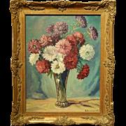 H Harrington:  Floral Still Life Oil Painting