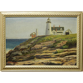 B. Howland: Light House, Oil Painting c.1930