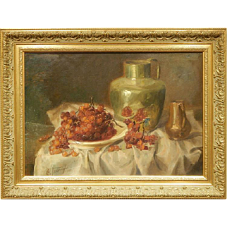 Ettore Federighi: Still Life With Grapes 1965 Oil Painting
