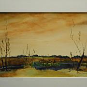 Late Autumn Sunset Watercolor Painting Signed Massachusetts Artist