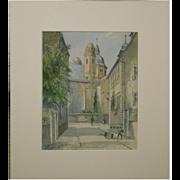 W.E.Wortmann 1927 Watercolor German Street Scene
