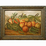 Antique American Oil Painting Of Peaches