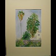 California Plein Air Watercolor With Palm Tree