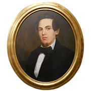 Oval Oil Portrait Of A Confident Young Man c.1860
