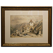 Mid 1800's Lithograph Of Life In Cochem Germany