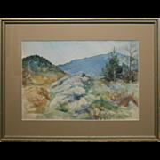 Ethel Barton Maine Mountain Watercolor