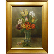 Antique Dutch Tulip Oil Still Life