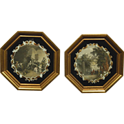 Pair Of Antique Hand-Colored Engravings In Octagonal Frames