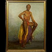 Oil Figure Painting/Portrait of a Male Dancer c.1945 By Bob LeRose