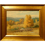 Golden Plein Air Landscape Oil Painting By Frank Darrah (1864-1951)
