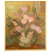 Peonies & Tulips Bouquet Floral Still Life Oil Painting Signed Harwood