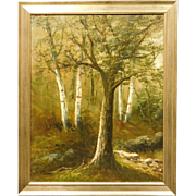 Antique oil painting of trees