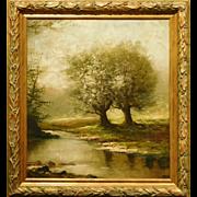 Antique Tonalist Springtime Blossoms Oil Painitng