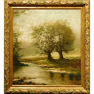 Antique Tonalist Springtime Blossoms Oil Painitng