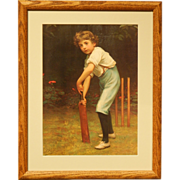 Framed Print of Young Boy With Cricket Bat by Pears