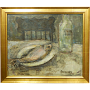 Still Life With Fish: Mid-Century Oil Painting