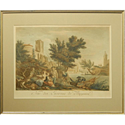 J.J.LeVeau: Bayonne, Hand Colored Engraving