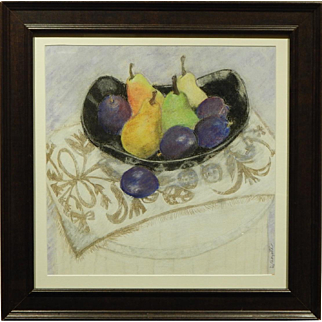Pastel Still Life With Fruit Signed D. Cheyette