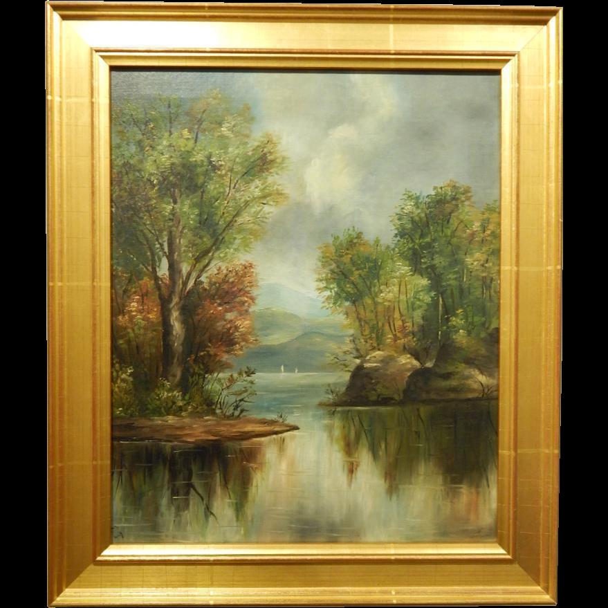 White Mountain School Landscape Oil Painting