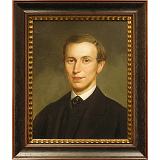 Young Man w/Beard Antique Oil Portrait
