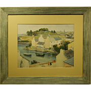 Pironin: 1939 Chromolithograph of French Harbor