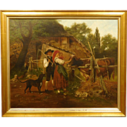 19th Century Farm Family with Cow, oil painting