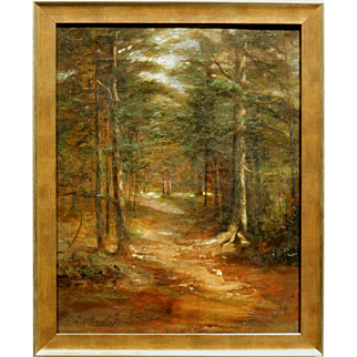 Sunlit Woodland Path 1908 Oil Painting Signed Partridge