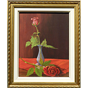 Modernist Still Life With Roses Oil Paining By G.A. VanDerGeest