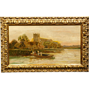 Antique oil painting of Family in a Boat