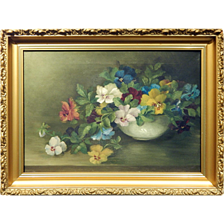 Antique Floral Still Life Oil Painting Of Pansies In Ornate Frame