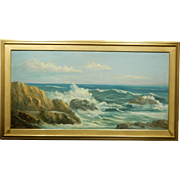 Large Seascape Oil Painting Signed Stevens