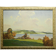 H. Wayland: Lake View 1943 Oil Painting
