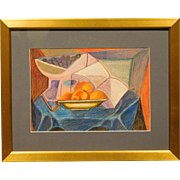 Russian Cubist Still Life Drawing c.1990, signed